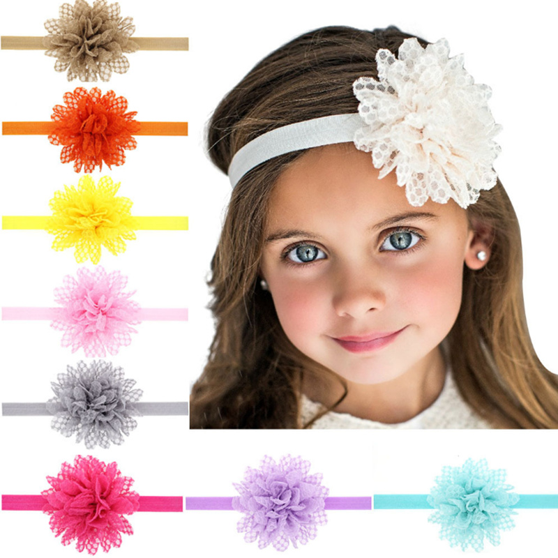 13 Color Lace Flower Headband Baby Girl elastic tiara Band for New hair accessories Hairband Chiffon cute Kids head bands solid(China (Mainland))