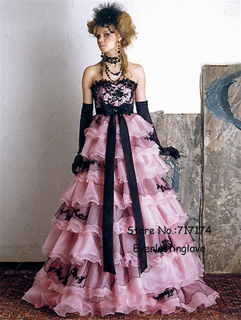 pink and black wedding dress with sash black appliques