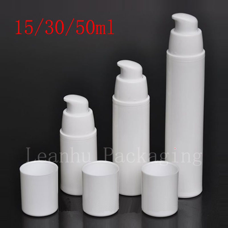 15ML 30ML 50ML Empty White Airless Lotion Cream Pump Plastic Container ,Travel Cosmetic Skin Care Cream Bottle Airless Dispenser(China (Mainland))
