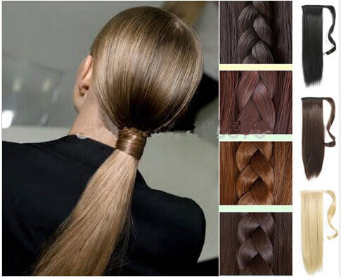 """Real Thick 120g Drawstring Pony tail Ponytail Clip in Hair Extensions Extension 24"""" 60CM Straight Black Brown Blonde Auburn Red(China (Mainland))"""