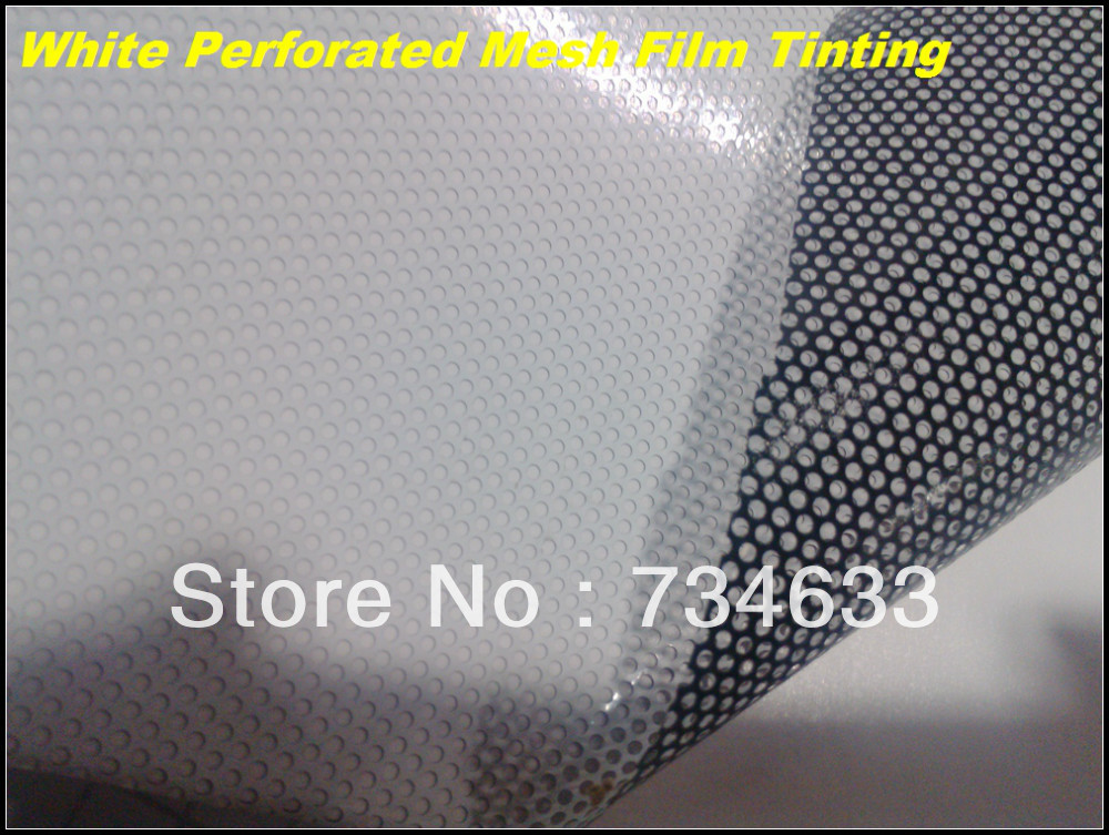 Printable perforated white one way vision Vinyls For car window signmark etc self adhesive Vinyl film,Mesh film 1.07x50m(China (Mainland))