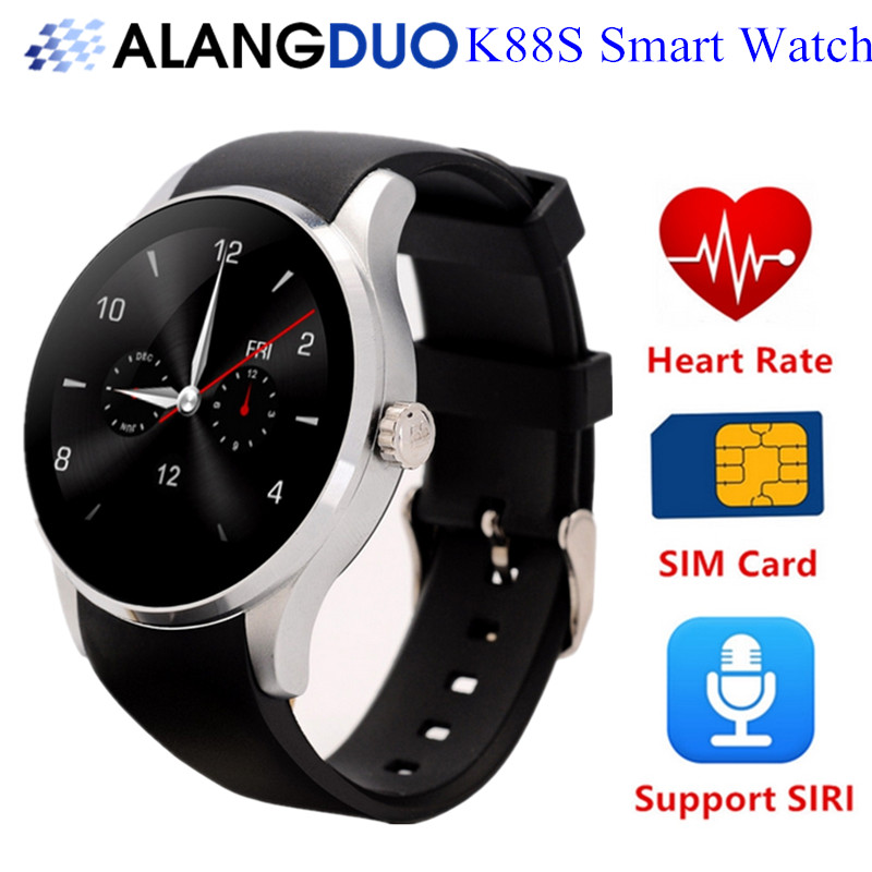Alangduo Bluetooth Smartwatch K88S Smart Watches Heart Rate Monitor Clock Phone for Ios Android Support Remote Camera SIRI SIM(China (Mainland))