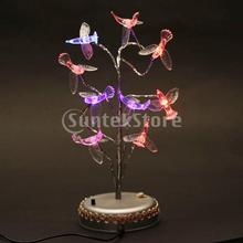 Free Shipping LED Artificial Bonsai Tree with Humming Birds Multi-colored Light Ornament Lamp(China (Mainland))