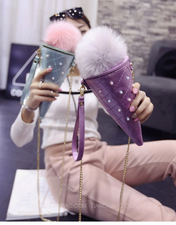 In 2016 the new single women shoulder bag oblique satchel pack ice cream chain cortex PU fabric fashion and personality(China (Mainland))