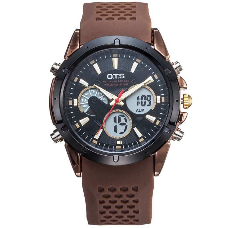 Top Brand Luxury OTS Sport Watch Auto Date Day LED Alarm Black Rubber Band Analog Quartz Military Men Digital Watches relogio