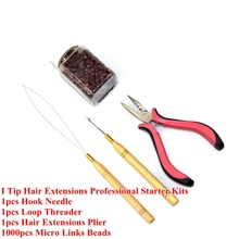 Silicone Micro Links Beads Hair Beads+Hook Needle+Loop Threader +Extensions Plier For I Tip Hair Extensions Professional Kits