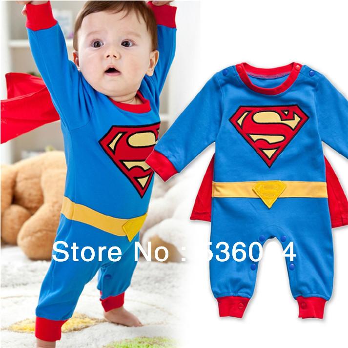 Superman Long Sleeve Baby Boy Dress Romper Halloween New Jumpersuit Costume Freeshipping(China (Mainland))