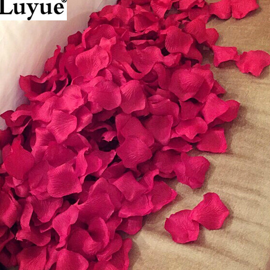 500pcs Table Confetti Decoration Silk Rose Petals Fabric Artificial Flower Petals Wedding Birthday Party petale de rose(China (Mainland))