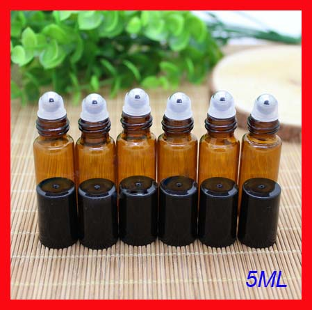 5ml amber roll on roller perfume atomizer sample bottles f essential oils roll-on refillable deodorant containers w black lid(China (Mainland))