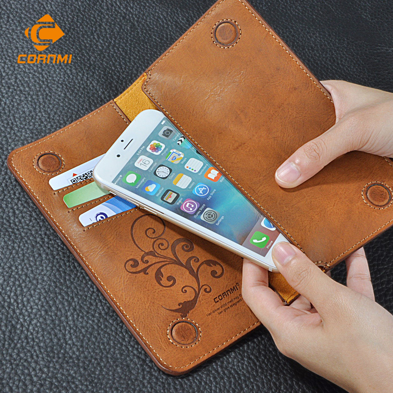 5.5 Universal Vintage Leather Flip Wallet Pouch IPhone 5 6 7 Plus HTC Huawei LG Sony Samsung S4 S6 Edge Note 7 Case
