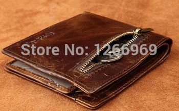 2015 Casual Raw Nature Fashion Genuine Imported Vintage Calf Leather Bifold Wallet Men Short Wallet Tan Brown Zipped Coin Pouch(China (Mainland))