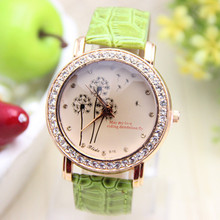 11 colors New Arrival PU Leather Watch Dandelion Rhinestones Watch Fashion Woman Dress Watch 1piece/lot
