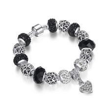 ELESHE, модный серебряный браслет с шармами, браслет для женщин, Хрустальный цветок, браслеты из бисера, сделай сам, ювелирные изделия, Pulseras Mujer, ...(China)