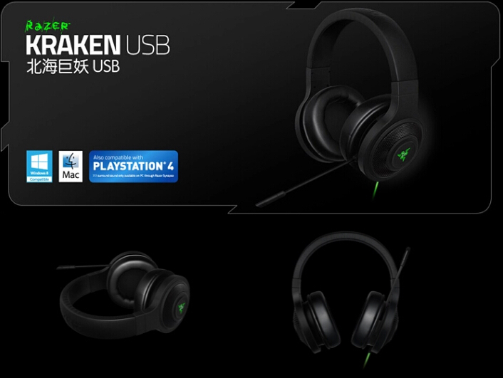Original Razer Kraken Standard USB Headset Headphones Headphones Black Gaming Microphone With MIC Dota 2 Consumer