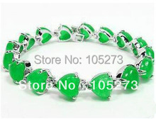 New Arriver Jade Jewelry Superb Green Color Nice Jade Heart Shaper 14k Yellow Gold Plated Bangle Bracelet New Free Shipping(China (Mainland))
