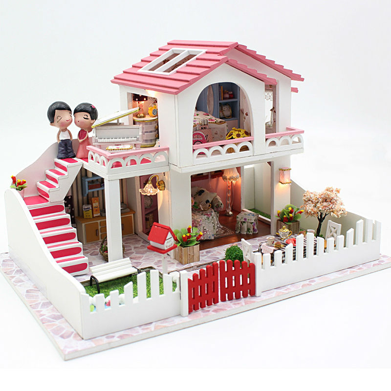 Diy Doll House Villa Model Include Furniture Led Miniature 3D Puzzle Wooden Dollhouse Creative Birthday Gifts Toys Dolls Free(China (Mainland))