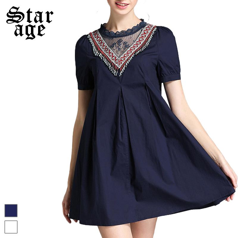 L-5XL Ladies Plus Size Ethic Style Short Dresses 2016 Summer Solid Color A-line Knee-length Sundress 2195(China (Mainland))