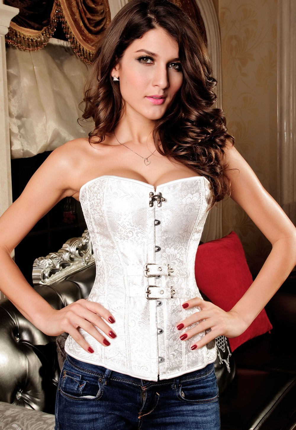 Luxurious Pteris Jacquard Corset Corselet  LC5284