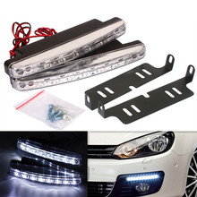 Newest led car styling light 2pcs High Quality Super White 8 LED Daytime Running Lights fog 12V Head parking Lamp free shipping