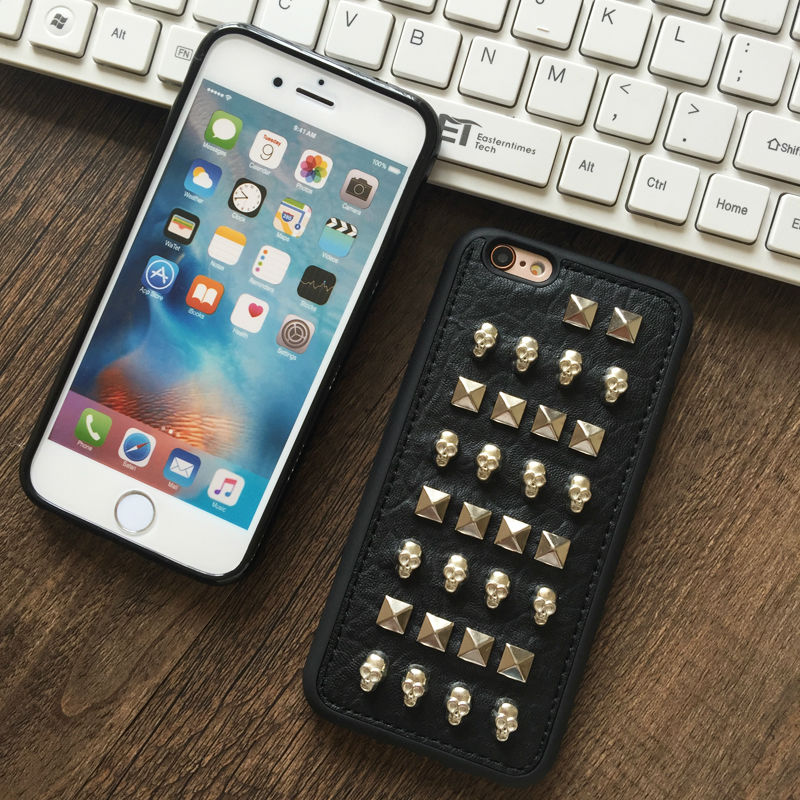 Rock PUNK Rivets Skull soft rubber PU leather phone case For iPhone 5,5S,SE,6,6S,6plus,6Splus,7,7plus fashion back cover bag