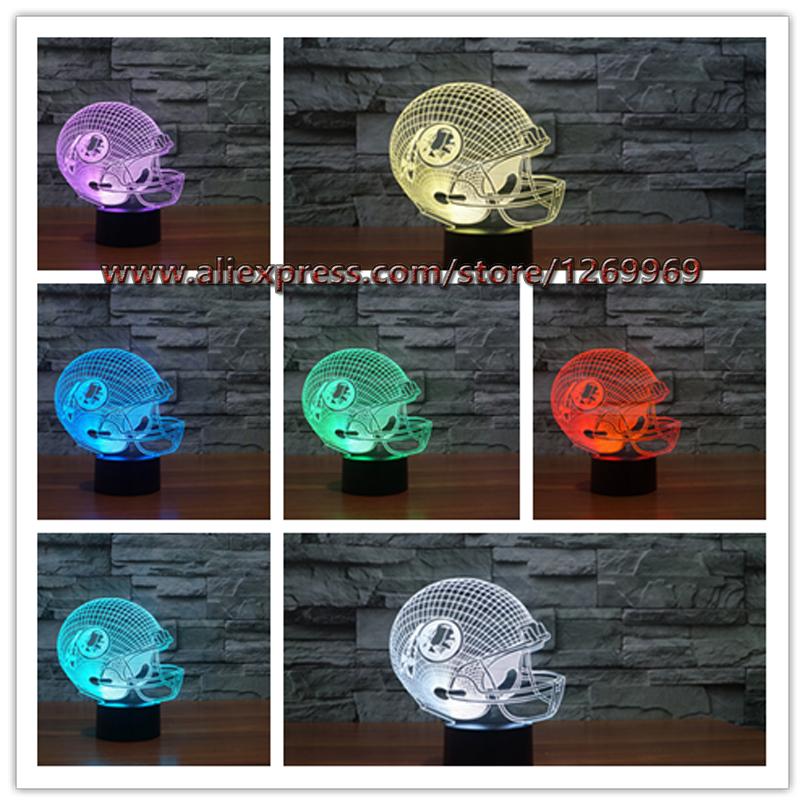 Cool Boy New 2017 NFL Washington Redskins American Football Team Helmet 3D Night Light 7 Colors Change LED Table Lamp Xmas Gift(China (Mainland))