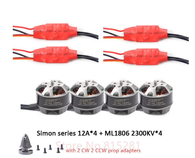 4 PCS ML1806 2300KV motor with prop adapter 4 PCS Simon 12A Brushless ESC Speed Controller