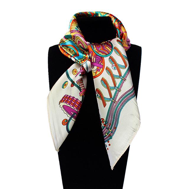 60 см * 60 см Женщины 2016 Новая Мода Имитационные Шелковый Бренд Время Лаборатория Печатной Площади Шарф Горячие Продажи Небольших шелковый Атлас Шарфы