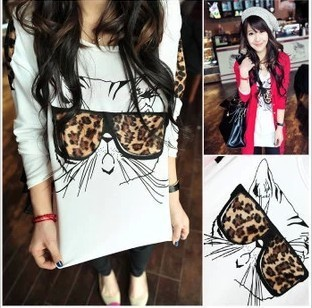 Leading the wave shirts Novelty funny cat wear leopard glasses pattern Personality women long sleeve tops Free Shipping T121