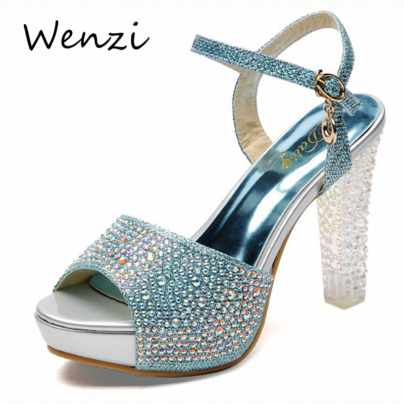 Thick High Heels Sandals 2015 Summer New Fashion Fish Head Women Shoes Platform Rhinestone Thick High Heels Dress Sandals<br><br>Aliexpress