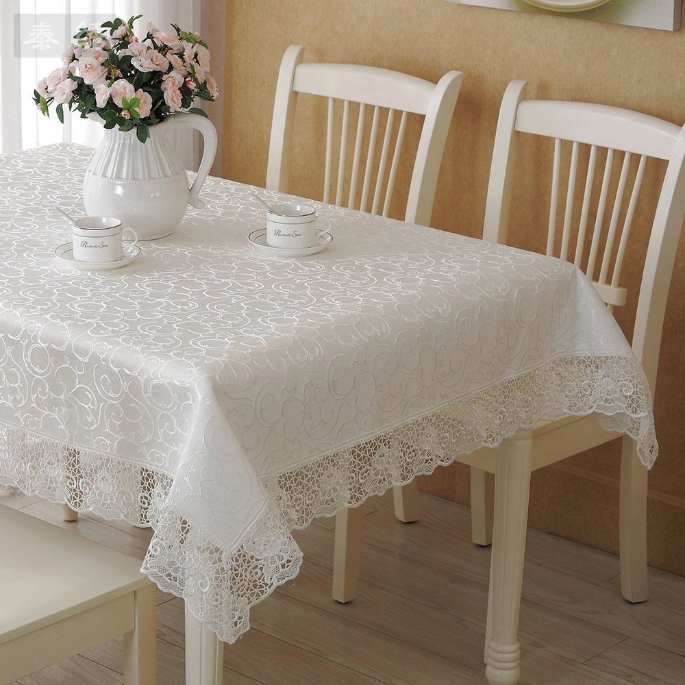 Thai White Embroidered Lace Pattern Embroidered Cloth European Style Coffee Table Cloth