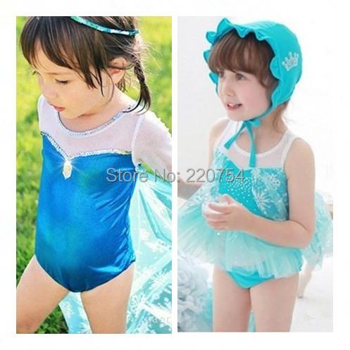 New Kids Girl Baby Swimwear Toddler Swimsuit Queen Elsa Anna One-piece Tankini Bathing Bather 2-10T(China (Mainland))