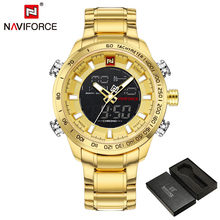 NAVIFORCE hommes montre numérique Sport hommes montre-bracelet Top marque de luxe militaire en acier inoxydable analogique LED Quartz mâle horloge 9093(China)