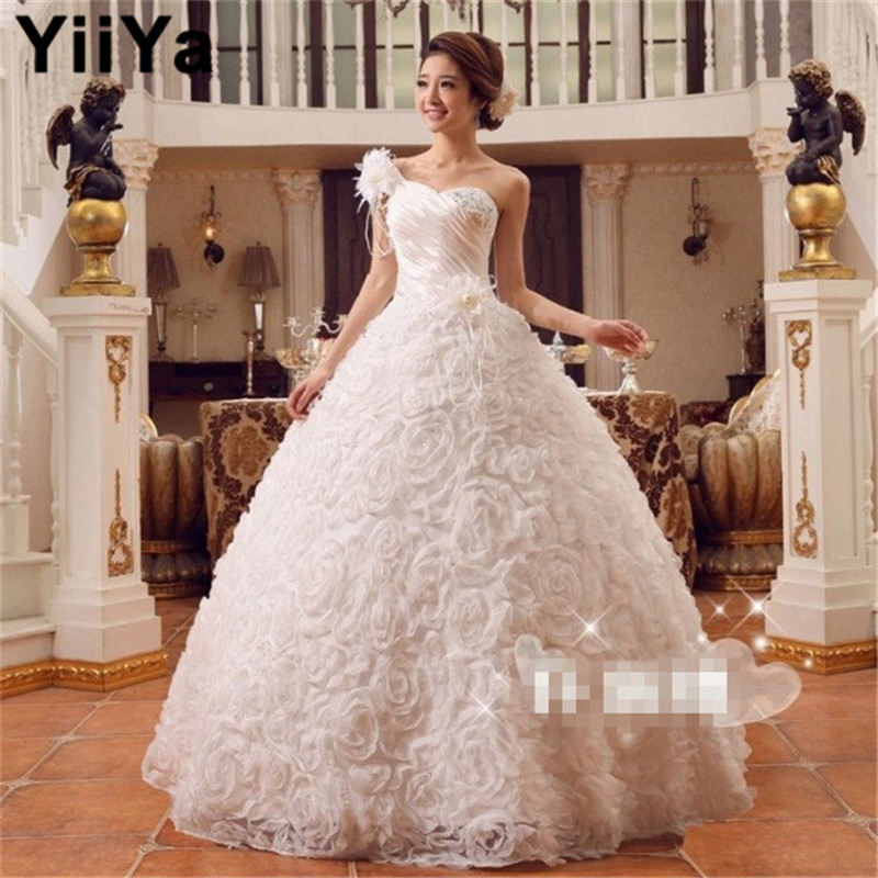 Free shipping yiiya new wedding dress 2015 cheap handmade for Wedding dresses with roses on them
