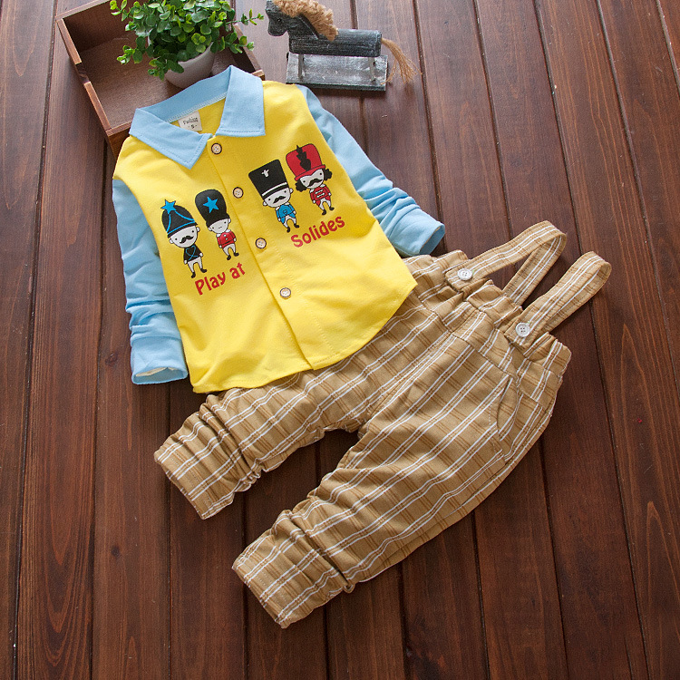 0-3 years old baby plaid pants suspenders four soldier boy Autumn 2016 children's clothing leisure suit single-breasted cardigan(China (Mainland))