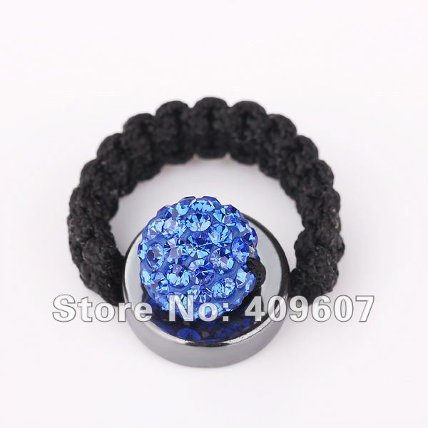 Latest design! 2012 fashion tresor paris collection shamballa rings jewelry blue10mm pave disco ball free shipping XBR016