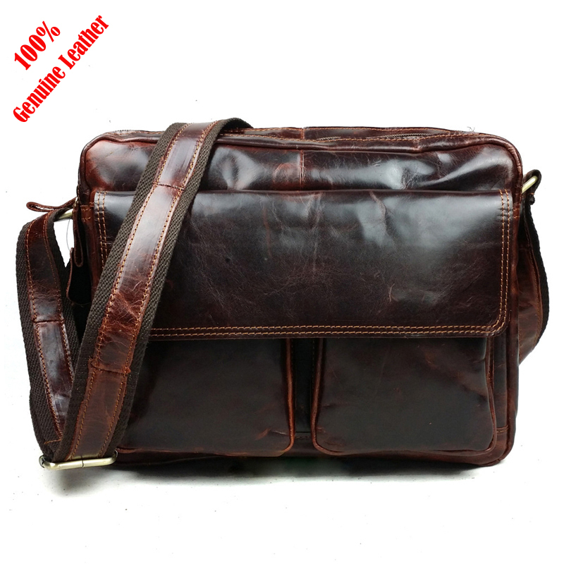 Hot 2015 New designer brand casual 100% brown Genuine Leather men messenger bags vintage cowhide men's travel sac de marque