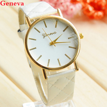 Geneva Fashion Leather Quartz Ladies Watch Women Dress Watches Argyle Gold Case Casual Women Wristwatch 2015 New Relojes