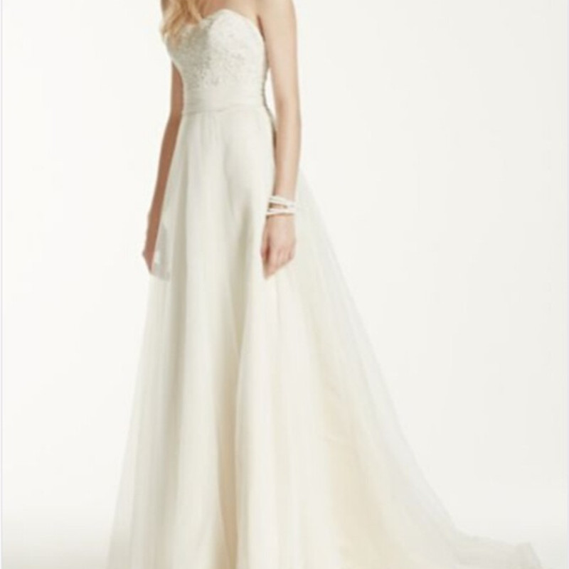 Wedding Gowns A Line Cut : Strapless a line beaded lace tulle gown style wg wedding dresses