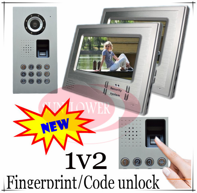 1V2 Luxurious Fingerprint/Code unlock Video door phones intercom systems Waterproof(IP65) camera can put in the rain directly(China (Mainland))