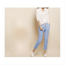 In Summer 2016 Fashion Linen Haren Nine Elastic Waist Pants All-Match Loose Pantalon Candy Colored Women's Casual Pants Trousers(China (Mainland))