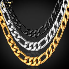 Buy U7 Black/Gold Color Stainless Steel Necklace Men Jewelry Wholesale 5MM Trendy Long Figaro Chain Necklace Trendy N141 for $4.49 in AliExpress store