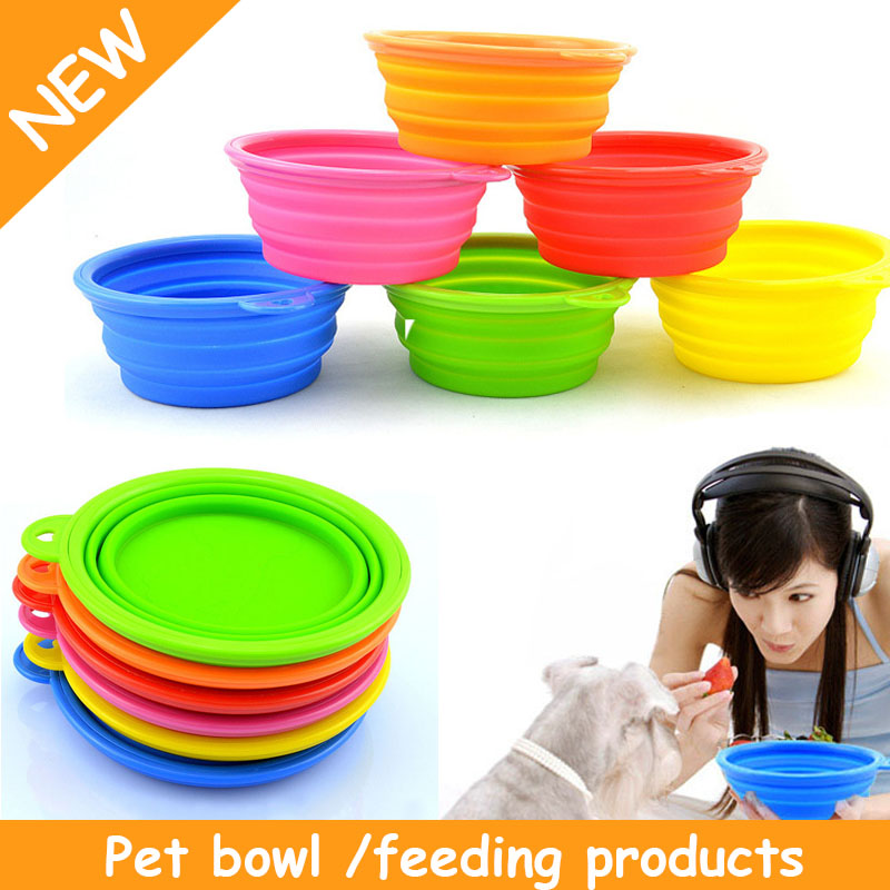 Pet shop Dog Cat Fashion Silicone Collapsible Feeding Water Feeder Travel Bowl cachorro perros chien mascotas Bacia 6 Colors(China (Mainland))