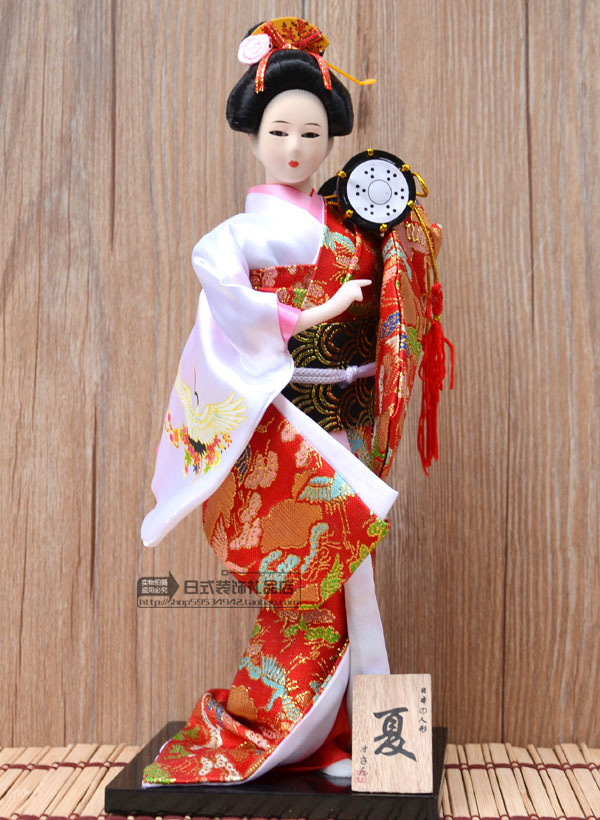 Free Shipping Japanese Geisha Doll 12 Inches Japanese Humanoid Handmade Silk Figurine Gorgeous Colorful Embroidered Kimono Doll(China (Mainland))