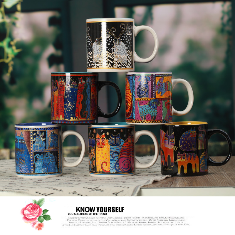New Creative gifts personalized abstract decorative painting art ceramic cartoon cat animal coffee tea milk mug cup sublimation(China (Mainland))
