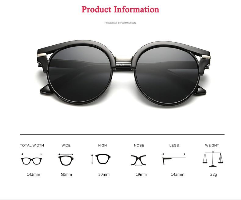 Women Sunglasses Simple Round Metal Decorate Colorful UV Protection Sun Glasses Brand Designer Eyewear Lunette De Soleil Femme