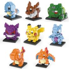 Figures Model Toys Pikachu Charmander Bulbasaur Squirtle Mewtwochild Eevee Child Christmas gift 9+ Anime Building Blocks