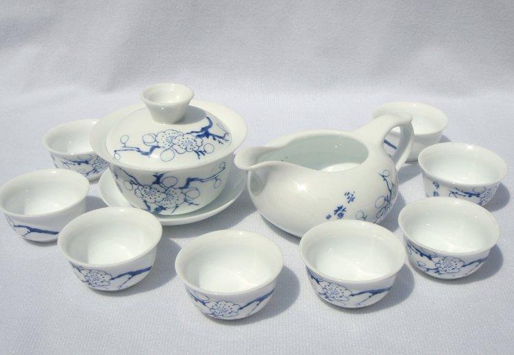 10pcs smart China Tea Set Pottery Teaset Plum Flower A3TM09 Free Shipping