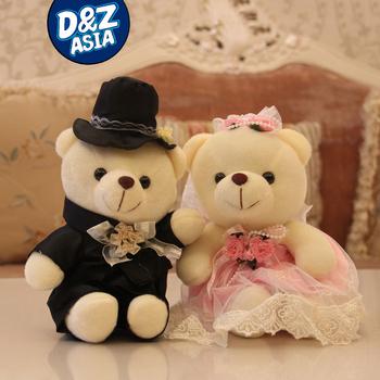 1 pair/lot 20cm 7.9 inch plush wedding bear teddy bear lovers in wedding dress stuffed toy wedding gift wedding car decoration