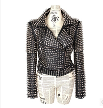 EMS Designer Euro Style Rivet Women Leather Jacket Coat Black Winter Punk Cool Silver Studded Slim
