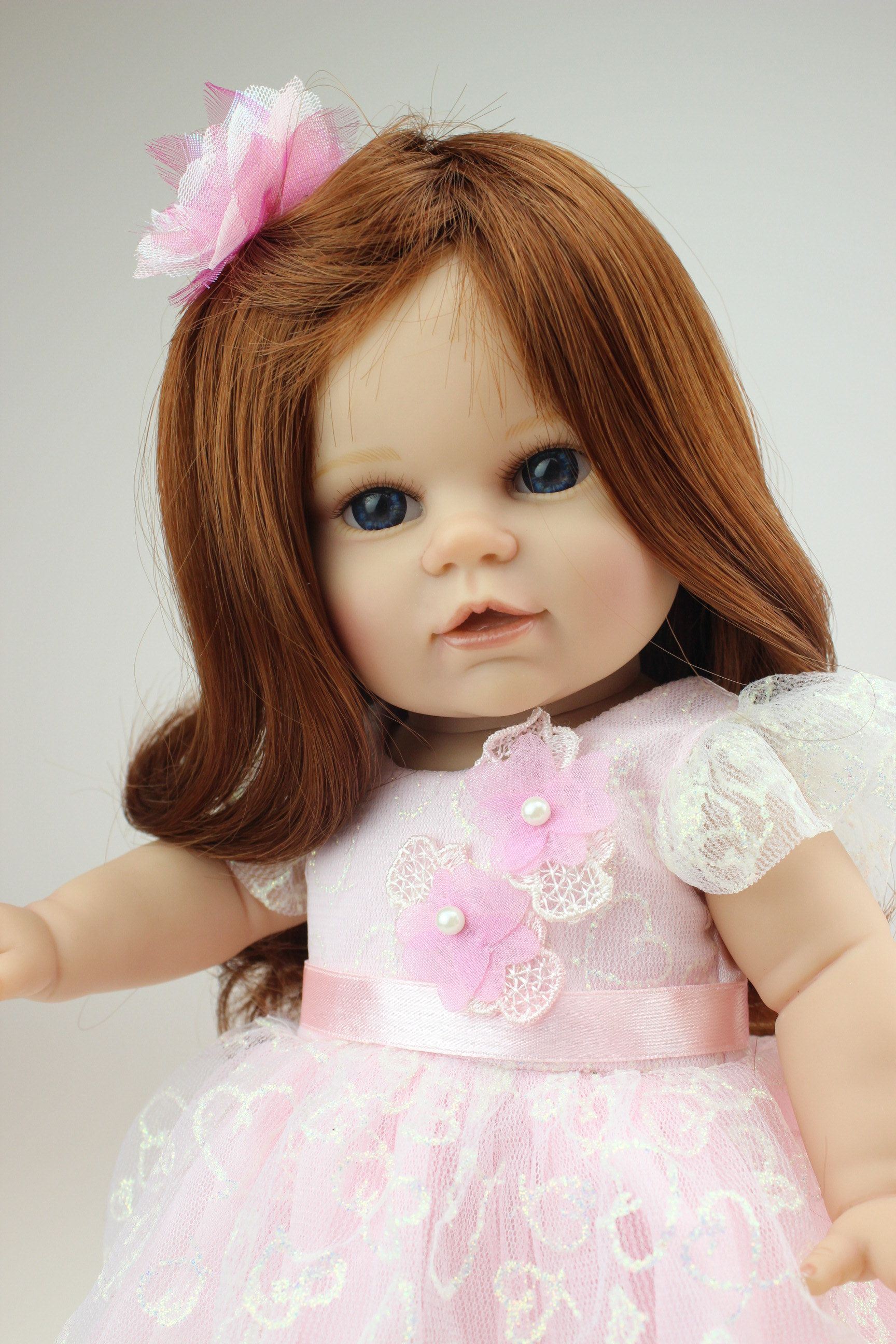 Full Silicone 45cm American Girl Doll Brown Hair Including All Fashion Girl Dolls High-grade Girl's Toy Gift